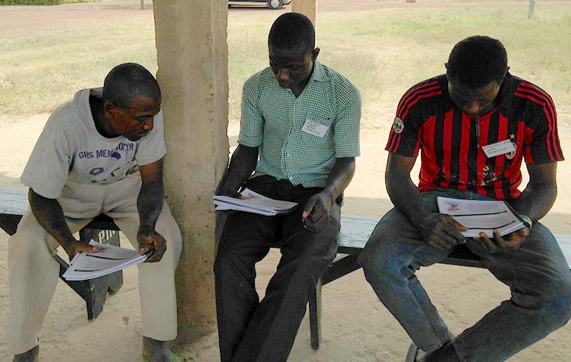 Training students from Ghana consult IFIX manuals